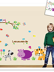Monkey Elephant Lion Zoo Wall Sticker For Kids Room Zooyoo9046 Decorative Removable Pvc Wall Decal