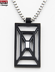 316L Stainless Steel IP Black Pendant with White Enamel with Steel Chain Necklace for Unisex