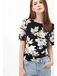 Women's Print Chiffon Short Sleeve T-Shirt