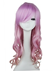 Women Synthetic Pink Wig Curly Long Synthetic Capless Wig