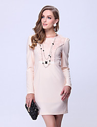 Women's Party/Cocktail Vintage A Line / Bodycon Dress,Solid / Patchwork Round Neck Above Knee Long Sleeve White Polyester / Spandex Fall