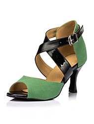 Non Customizable Women's Dance Shoes Latin / Salsa Flocking Flared Heel Green