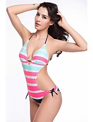 Free Shipping Hot Wholesale Striped Removable Push Up Padding 2014 Strappy Female One Piece Swimsuit S.M.L.XL