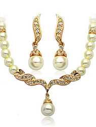 Vintage/Casual Alloy/Cubic Zirconia/Imitation Pearl Necklace/Earrings Sets Women's Party Wedding Jewellery Sets Fashion Angel Wings Faux Bride Sets