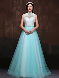 Formal Evening Dress - Jade Petite A-line High Neck Floor-length Lace / Tulle / Polyester