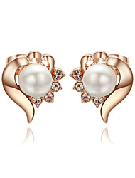 T&C Women's Concise 18K Rose Gold Plated White Simulated Pearl Heart Wedding Studs Earrings