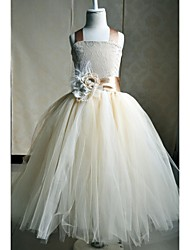 A-line Floor-length Flower Girl Dress - Silk Sleeveless Square with