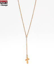 316L Stainless Steel IP Rose Gold Chain Necklace Cross with CZ Stone Set Pendant for Women