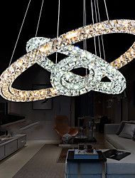 LED Crystal Pendant Lighting Lights Transparent Crystal Round 3 Rings Cool White And Warm White Fixtures