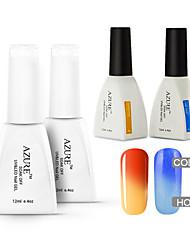 Azure 4 Pcs/Lot Soak Off LED UV Nail Gel Polish Color changing Gel Manicure Nail Art Gel(#23+#33+BASE +TOP)