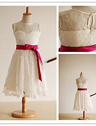 Flower Girl Dress Tea-length Lace/Satin A-line Sleeveless Dress
