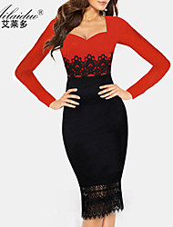 Aold®women's sweetheart neck Long sleeve lace sllim one-piece dress(Spandex/Polyester)