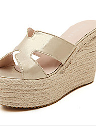 Women's Shoes Synthetic Wedge Heel Wedges Slippers Outdoor/Office & Career Silver/Gold