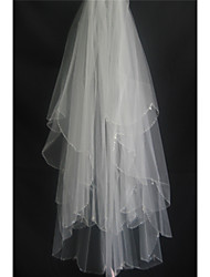 Wedding Veil Two-tier Fingertip Veils Beaded Edge Tulle White Ivory Beige