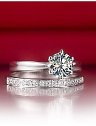 Classic 6Prong 2Carat Sterling Silver Ring Set Women Jewelry SONA Synthetic Diamond Rings Set Engagement Platinum Plated