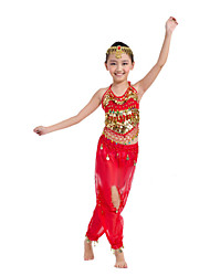 Belly Dance Performance Outfits Children's Sexy Performance Chiffon/Polyester Coins Outfit Red Kids Dance Costumes