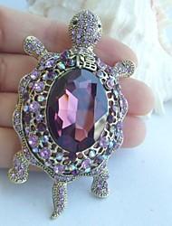 Women Accessories Gold-tone Purple Rhinestone Crystal Tortoise Turtle Brooch Art Deco Scarf Brooch Women Jewelry