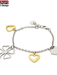 316L Stainless Steel Chain Bracelet with IP Gold Heart Charming & Flower Charming for Women