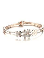 Sjewelry Girls Fashion Four Leaf Clover Plating Rose Gold Bracelet