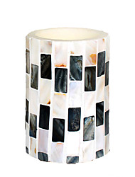 Simplux™ 3*4 Inch White and Black Strip Color Pattern Flameless Led Wax Candle with Timer,Work with 2 AA Battery