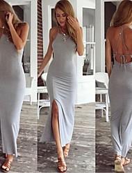 Sexy/Bodycon/Strand Quadrate - Ärmellos - FRAUEN - Kleider ( Baumwolle )