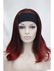 nova moda 3/4 peruca com banda de cabelo mistura vermelho longo reta final ondulado metade peruca m135