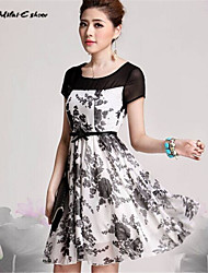 Milaieshow Women's Round Collar Elegant Above Knee Dress
