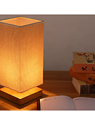 Traditional Square Wood Stand Fabric Shade Table Lamp