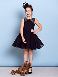 Knee-length Chiffon Junior Bridesmaid Dress - Black A-line Jewel