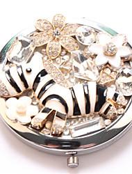kleine zebra pocket make-up spiegel cosmetische kant draagbare miroir espelho espejo de maquiagem bolso maquillaje bling