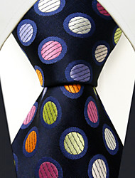 M5  Men's Neckties Navy Blue Multicolor Polka Dot 100% Silk Dress Casual For Men