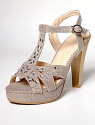 Women's Shoes Glitter Chunky Heel Peep Toe/Platform Sandals Dress Silver/Gold
