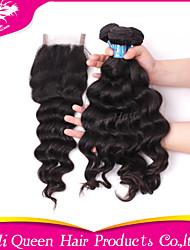 Ali Queen Hair Products 3Pcs 6A Peruvian Virgin Hair Natural Wave Wifh 1Pcs 4*4 Swiss Lace Closures 100% human hair