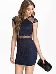 Women's Sexy Mesh Insert Navy Lace Bodycon Mini Dress