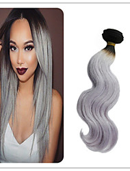 3Pcs/Lot Brazilian Virgin Hair Brazilian Ombre Silver Hair Extension Ombre Two Tone Hair Grey Hair Extension