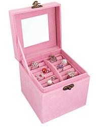 lavie®small caixa de jóias de flanela rosa três viagens conveniente levar organizar admissão