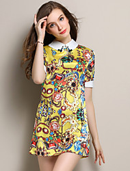 Women's Casual/Print Micro-elastic Elegant Short Sleeve Above Knee Dress (Lace/Polyester)