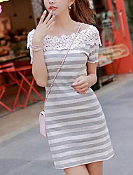 Women's summer new stitching cultivate one's morality short sleeve stripe dress lace skirt
