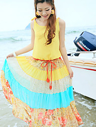 Women's Orange/Yellow Dress , Beach Sleeveless
