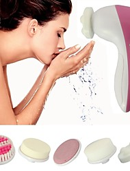 Electric Facial Brush Cleansing Includes Cleansing Sponge, Soft Brush, Massage Roller, Latex Sponge, Pumice Stone 5-in-1