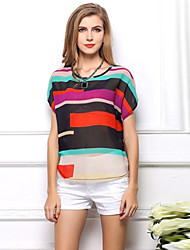 Women's Casual/Work Round Short Sleeve Tops & Blouses (Chiffon)