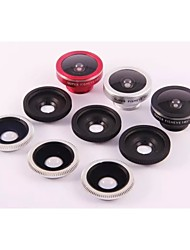 3in1 universel 185 ° Fish eye + 0,45 × grand angle + 10 × hd kit de Macro pour iPhone htc samsung sony (couleurs assorties)