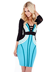Alice&Elmer Rayon Three-quarter length sleeves  Sheath/Column Bandage Dress