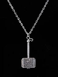 Women's Fashion Jewelry Vintage Casual Alloy Punk Thor Odinson Mjolnir Hammer Pendant Necklace