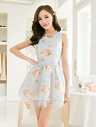 Women's Blue/Yellow Dress , Cute Sleeveless