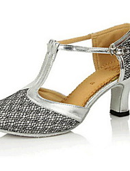Women's Dance Shoes Modern Sparkling Glitter Chunky Heel Blue/Brown/Pink/Silver/Gold/Other