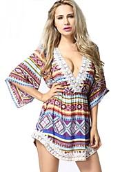 patrón geométrico v cuello multicolor ½ mini vestido longitud de la manga atractiva de las mujeres