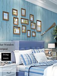 bandes de papier méditerranéenne contemporaine conceptions en bois de revêtement mural bleu art non-tissé mur de papier