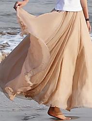 De las mujeres Faldas - Maxi Casual Rígido - Raso