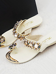 Women's Shoes Multicolor Rhinestone Wedge Heel Toe Ring/Comfort Sandals/Slippers Dress Black/White/Orange